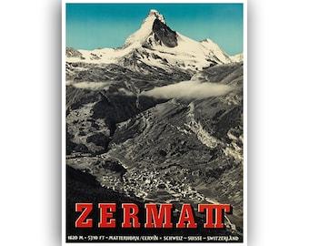 Retro Travel Poster Art Zermatt Switzerland Sports Home Decor Vintage Print (H446)