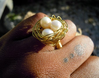 Mothers Day Wire Wrapped Freshwater Pearl Bird Nest Ring