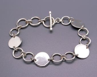 "Handmade Sterling Silver Circle Disc Link Chain Adjustable Toggle Bracelet 8.5"""