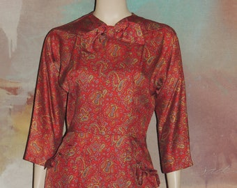 1950s Paisley Print Fitted Waist Dress Excellent Condition World Wide Shipping