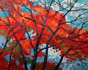 Cardinal Canopy - Acrylic Painting (24x30)