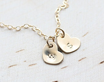 Tiny Heart Necklace, Gold Mother's Initial Necklace, Two Dainty Heart Charms, Personalized Jewelry, Gold Fill, Sterling Silver, Rose Gold