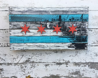 Chicago Flag with Skyline Lake Shore Drive View