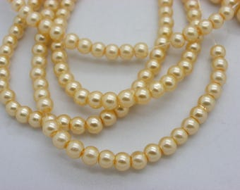 50 6 mm glass Pearl beige yellow mother of pearl beads