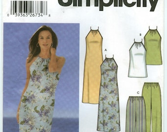 5507 Simplicity - Misses  Dress or Top, Pants or Shorts and Bias Skirt - UNCUT sewing pattern sz HH  6-8-10-12