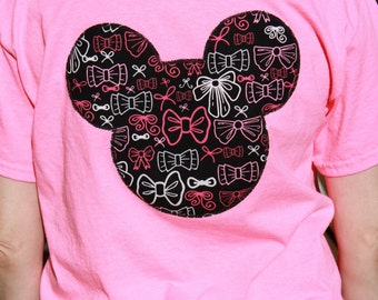 Minnie Mouse Bow Bright Pink Tee! Size Large