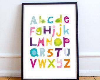 Alphabet nursery decor, alphabet print, baby nursery decor, baby room decor, kids art print, kids wall Art, children decor, alphabet poster