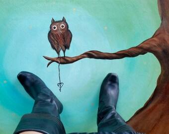 Salt Spring Owl with Skeleton Key- Oil cloth rug