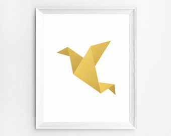Origami Bird, Children Wall Art, Origami Bird Art, Gold Art, Children Print, Origami Wall art, Baby Decor, Geometric Prints, Origami Crane