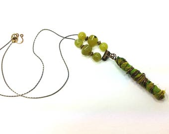 Gorgeous Green Stone Beads and Antique Copper Wire Wrap Pendant Necklace