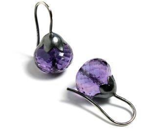 Amethyst Earrings Morning Glory Pod Sterling Silver