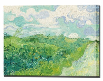 Van Gogh Field with Green Wheat Vincent Van Gogh Wall Decor Canvas Print Interior Design Ready to Hang