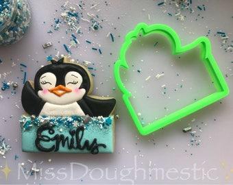 Penguin Plaque Cookie Cutter. Designed by @missdoughmestic