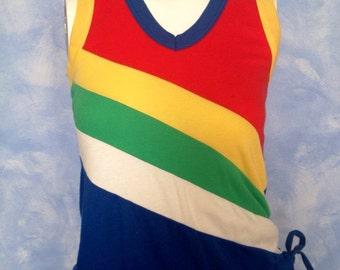 Vintage 70's Rainbow Stripe Side Tie Tee Size Small
