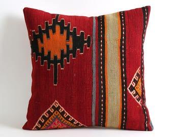 Red Kilim pillow cover, Bohemian floor kilim pillow, accent pillow, throw pillow, 20x20 decorative pillow