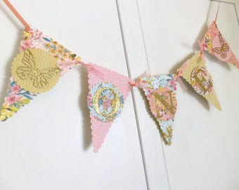 Peach & Gold Girls First Birthday Bunting Banner - Boho Floral, Butterflies - One Year Old - High Chair Sign, Photo Prop