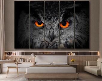 The evil eyes. ( Eagle Owl, Bubo bubo). Owl Canvas Set | Animal Wall Decor | Animal Wall Print | owl print | owl gifts | owl decor