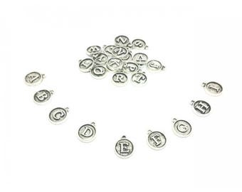 26 letters Alphabet matte silver round charms