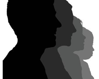 Custom Family Silhouette Portrait (Digital File)