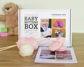 Baby Mitten Knitting Kit / Learn to knit kit / Personalised knitting needles / Beginner knitting kit / Baby shower gift / Baby announcement