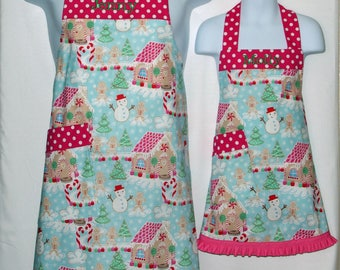 Mommy Daughter Apron, Matching, Christmas Little Girl, Gingerbread, Customize Gift With Name, No Shipping Fee, Ready To Ship TODAY 1125