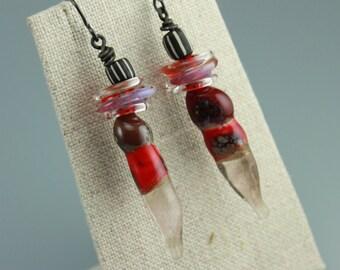 Rustic Earrings, Boho Earrings, Gypsy Earrings, Hippie Earrings, Red Glass Earrings, #654b-114