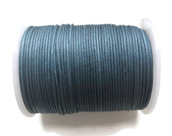 Blue Waxed Cotton Cord, Denim Wax Cord, Blue Wax Thread (1mm) 10m- 11yards - S 40 169