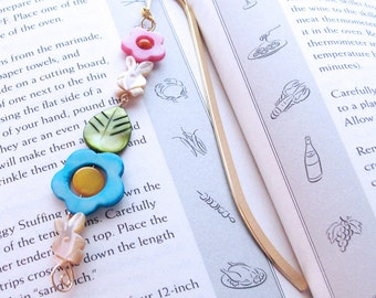 Beaded Bookmark - Mother of Pearl Bunny Rabbits, Bright Flowers, Gold Plated Hook Book Mark