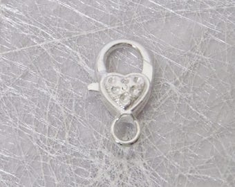 Large silver heart lobster clasp