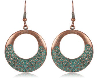 copper dangle earrings verdigris patina