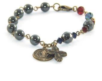 Christian Rosary Bracelet Saint Benedict Medal - Anglican Wrist Rosary