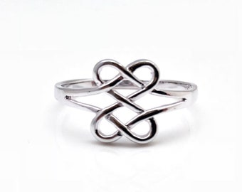 Double Infinity Celtic Ring / 925 Sterling Silver / Silver Infinity Ring / Delicate Infinity Ring / Thin Band Infinity Ring / Celtic Ring