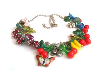 Colorful necklace with fruits, flowers, ladybirds and butterflies, cherries, strawberries, bananas, lampwork, fimo, cloisonne, for her, OOAK