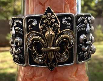 Black and Silver Bracelet with Black and Gold and Rhinestone Fleur De Lis  Silver with a Stretch Adjustable Beaded Band