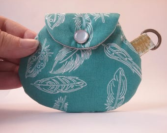 Feather Coin Purse, handmade minimalist change pouch, teal feather pattern, with key ring