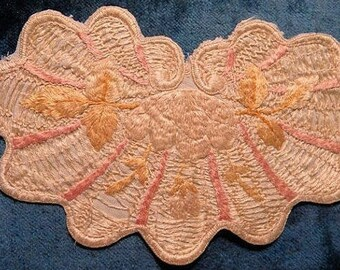 Antique Applique Doll Silk Trim Edwardian