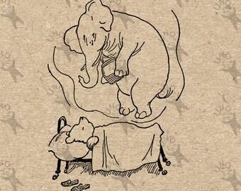 Winnie the Pooh Dream Heffalump drawing Instant Download Digital printable vintage clipart graphic burlap paper transfer scrapbooking 300dpi
