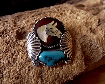 Sterling Silver Horse Pin with Turquoise and Mother of Pearl Inlay  RF215