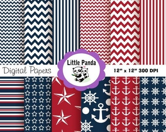 60% OFF SALE Nautical Digital Paper Pack, Scrapbook Papers, 12 jpg files 12 x 12  - navy blue, red, white - Instant Download - D57