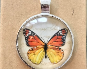 Butterfly Glass Dome Pendant