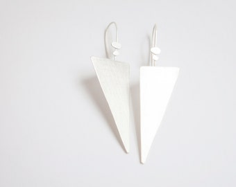 Long elegant triangle silver earrings, lightweight and very comfortable to wear, modern design with brushed finish