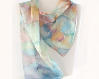 Abstract swirl silk scarf hand painted. Multicolored twirl shawl. Shell scarf.