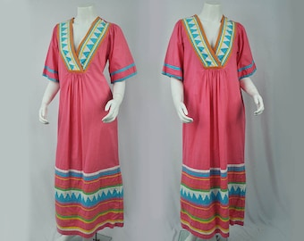 1970s Maxi Length Lord & Taylor Cotton Sun Dress// BOHO Dress/ Medium