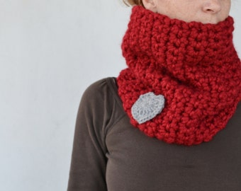 Red chunky cowl- Valentine's day- crochet scarf cowl with heart- gift for her