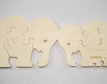 Wooden Elephant Family Puzzle - Wooden Elephant Family Toy - Elephant Family Puzzle - Elephant Family Toy