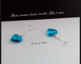 Jewelry creators earrings. Blue 2 hearts