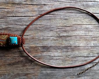 Jewelry -Gratitude - Chrysocolla Cab with Turquoise Cab - Necklace - Beaded Bale - Bead Weaving - Statement Necklace - BOHO