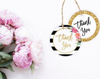 """Thank You tags, Printable round tags, Party printables, cut files, Gift tags, DIY, bachelorette, bridal shower, lables, floral chic, 2"""""""