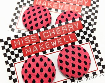Pink Watermelon Polka Dot Pips Rockabilly 1950's Pin Up Vintage Inspired Stud or Clip On Fabric Button Earrings By Miss Cherry Makewell