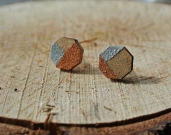 Octagon Geometric Stud Earrings - Minimalist - Asymmetrical - Asymmetry - Hand Painted Wooden Earrings - Unique and Elegant